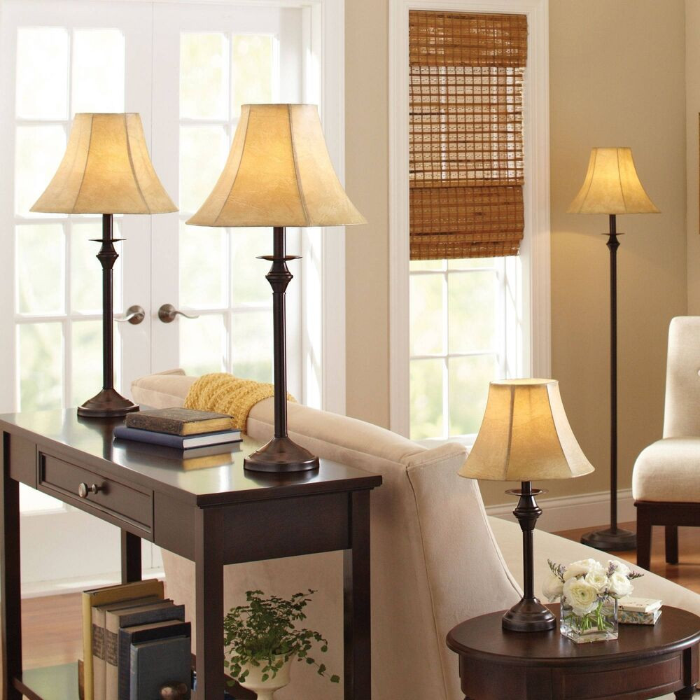 Best ideas about Living Room Lamps . Save or Pin 4 Piece Lamp Set Nightstand Light Floor Lamps For Living Now.
