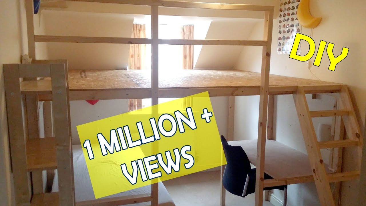 Best ideas about Lofted Bed DIY . Save or Pin HOW TO MAKE A LOFT BED BUNKBED LARGE DIY LOFTBED Now.