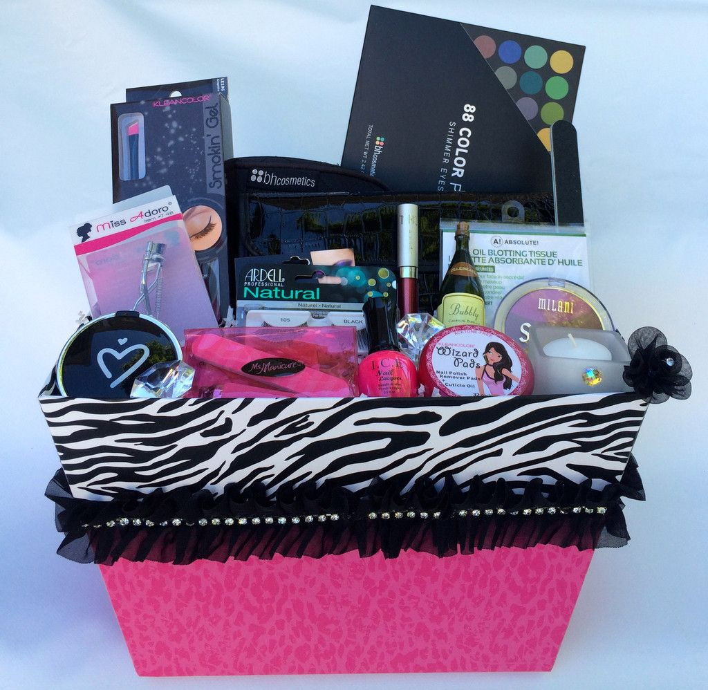 Best ideas about Makeup Gift Baskets Ideas . Save or Pin Deluxe Zebra Sparkle Gift Basket Gift Giving Ideas Now.