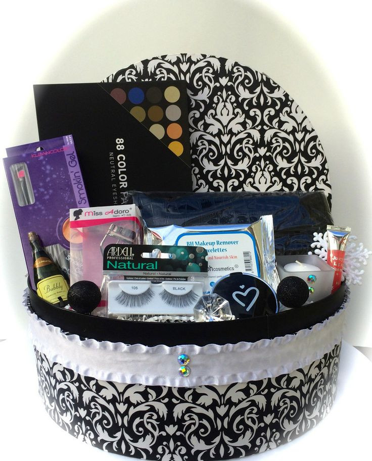 Best ideas about Makeup Gift Baskets Ideas . Save or Pin Damask Makeup Gift Basket Now.