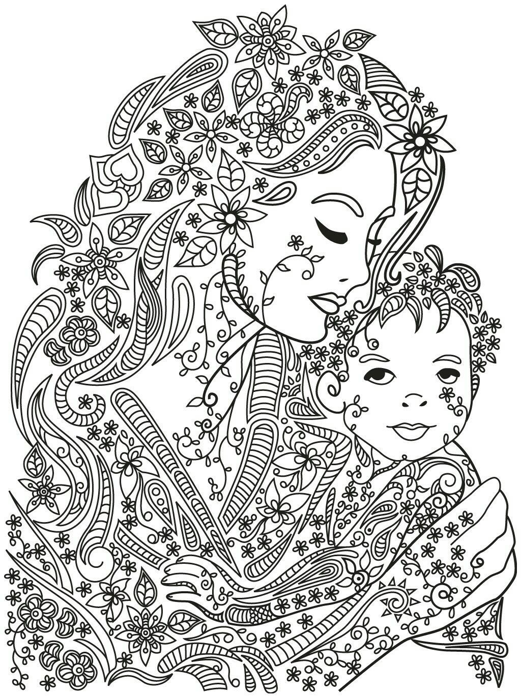Best ideas about Mandala Animal Coloring Sheets For Girls . Save or Pin Mother and child coloring page Now.
