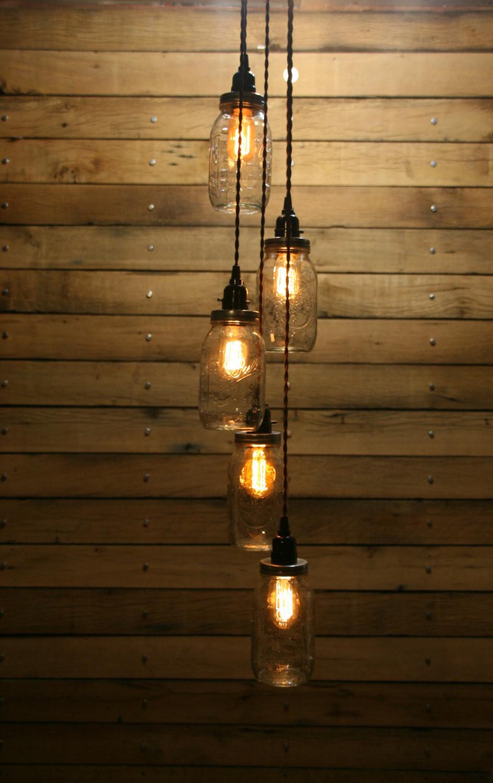 Best ideas about Mason Jar Lights DIY . Save or Pin DIY 5 Jar Pendant Light Mason Jar Chandelier by Now.