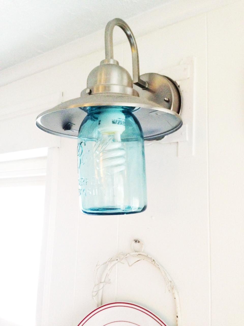 Best ideas about Mason Jar Lights DIY . Save or Pin DIY blue mason jar light fixture Now.