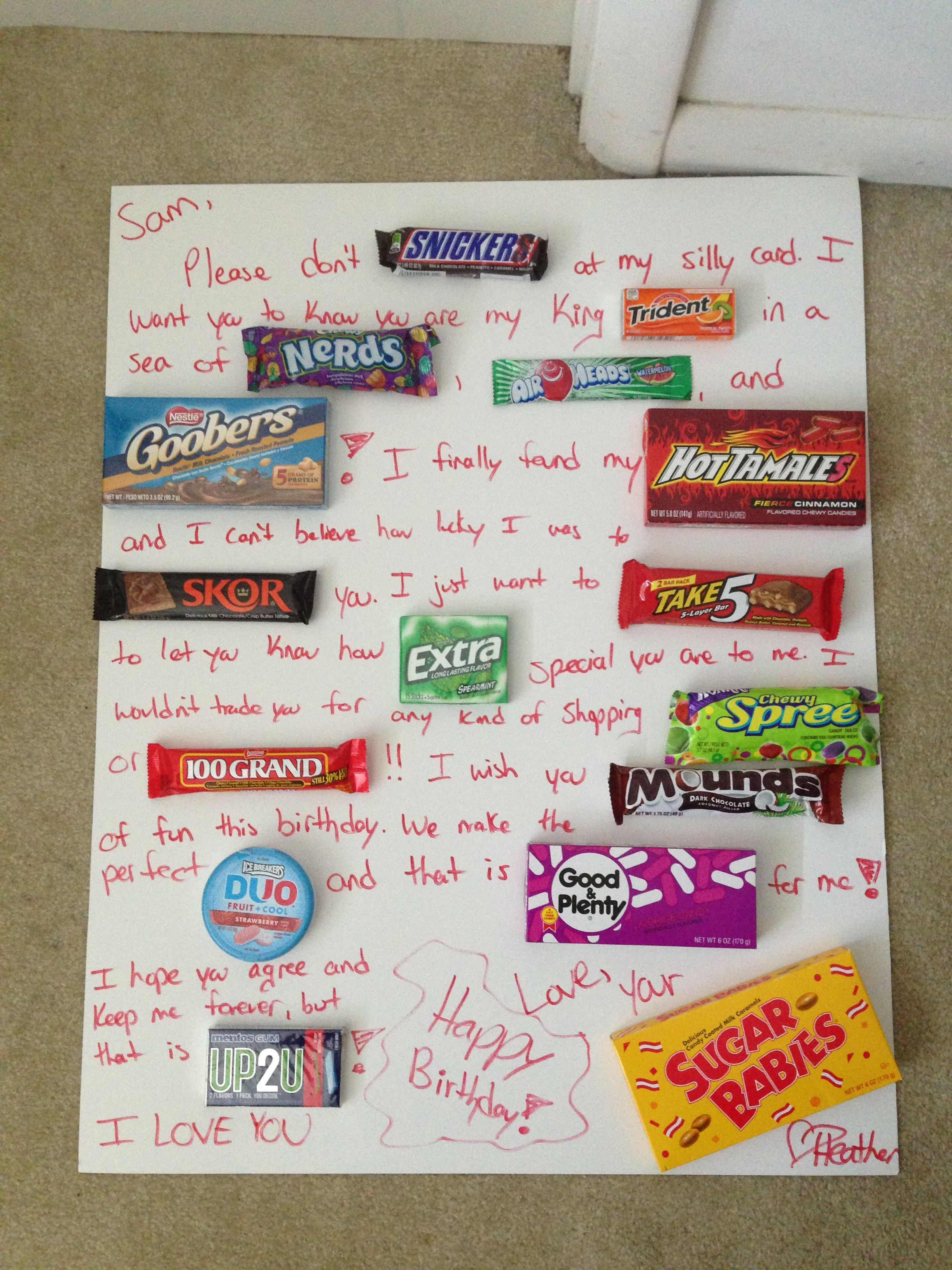 Best ideas about Meaningful Birthday Gifts . Save or Pin Candy card made for boyfriends birthday Personalized Now.