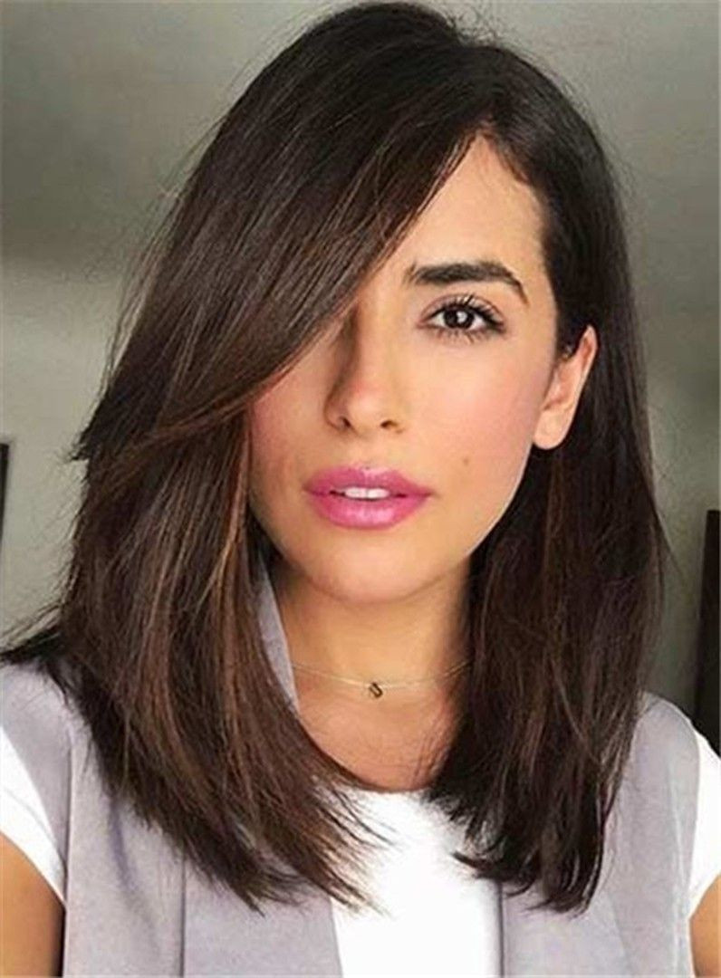 Best ideas about Medium Length Hairstyles Straight . Save or Pin Long Side Bang Medium Straight Lace Front Human Hair Wigs Now.
