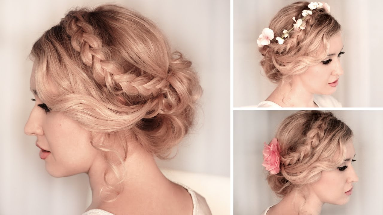 Best ideas about Medium Prom Hairstyles . Save or Pin Braided updo hairstyle for BACK TO SCHOOL everyday party Now.