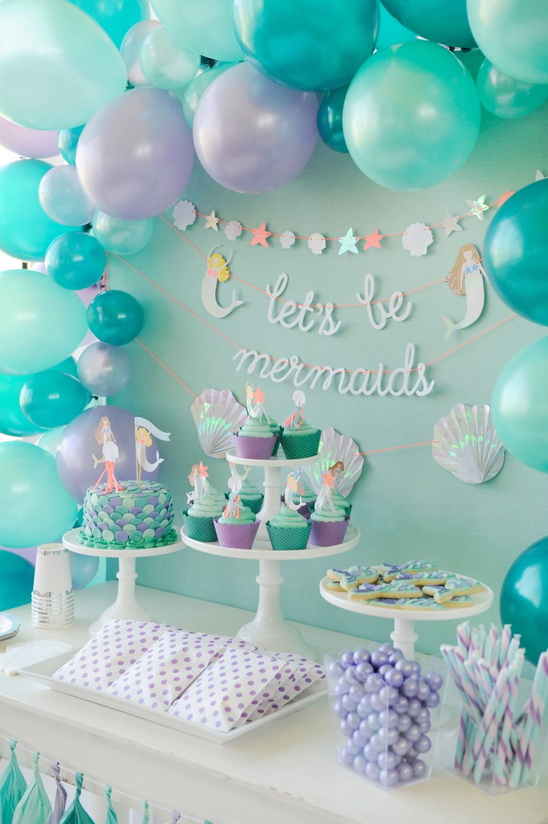 Best ideas about Mermaid Birthday Party Decorations . Save or Pin Mermaid themed children s birthday party dessert table Now.