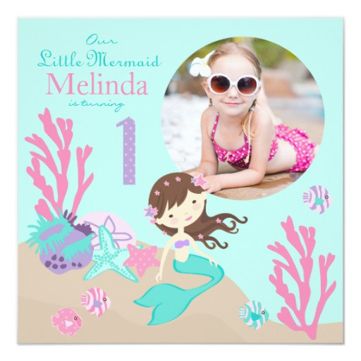 Best ideas about Mermaid First Birthday Invitations . Save or Pin Lt Brunette Mermaid First Birthday Invitation Now.