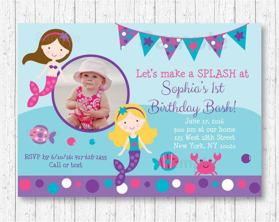 Best ideas about Mermaid First Birthday Invitations . Save or Pin Cute Mermaid Birthday Invitation Mermaid Birthday Invite Now.