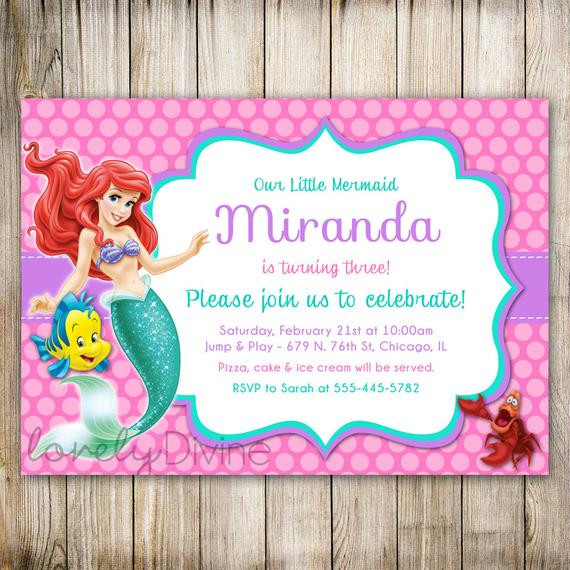 Best ideas about Mermaid First Birthday Invitations . Save or Pin Little Mermaid Birthday Invitation Ariel Invitation Ariel Now.
