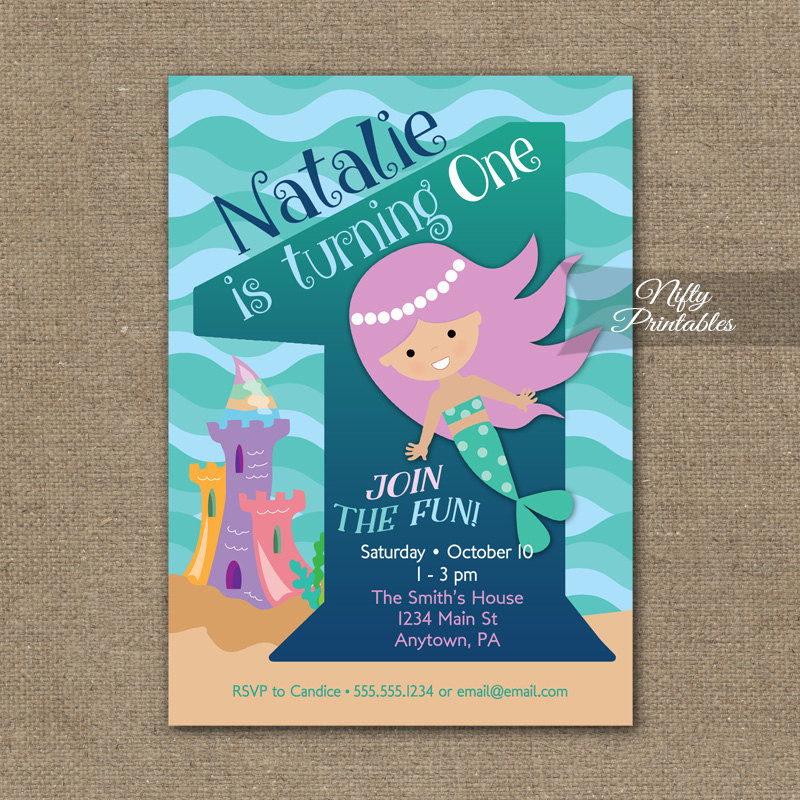 Best ideas about Mermaid First Birthday Invitations . Save or Pin Mermaid Birthday Invitation 1st Birthday Invitations Girls Now.