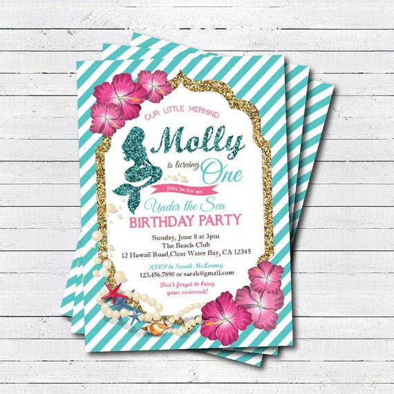 Best ideas about Mermaid First Birthday Invitations . Save or Pin Items similar to Mermaid invitation Little mermaid 1st Now.