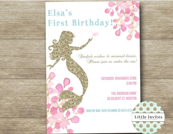 Best ideas about Mermaid First Birthday Invitations . Save or Pin Mermaid birthday invitations Mermaid by LittleInvites on Etsy Now.