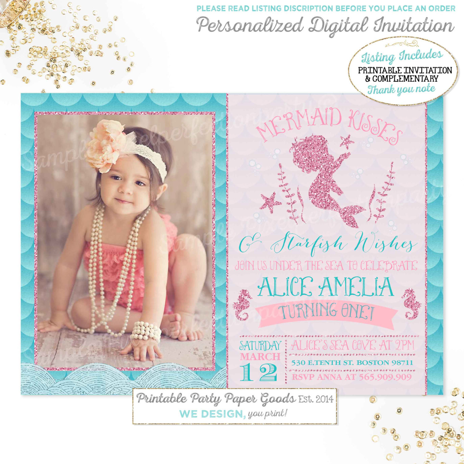 Best ideas about Mermaid First Birthday Invitations . Save or Pin Mermaid Invitation Mermaid 1st Birthday Invitation Mermaid Now.