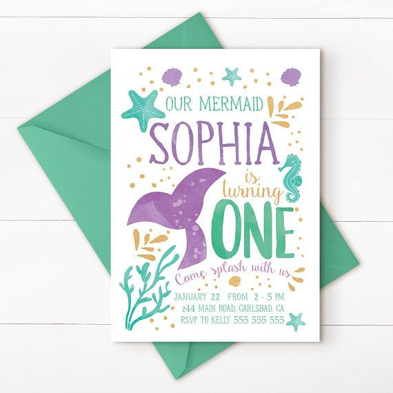 Best ideas about Mermaid First Birthday Invitations . Save or Pin Best 20 Mermaid Party Invitations ideas on Pinterest Now.