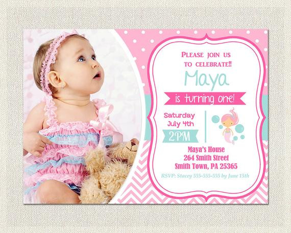 Best ideas about Mermaid First Birthday Invitations . Save or Pin First Birthday Invitation Mermaid Birthday Invitation Now.