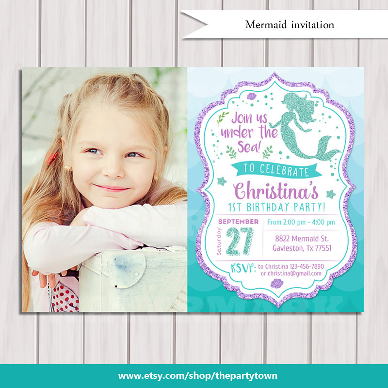 Best ideas about Mermaid First Birthday Invitations . Save or Pin Mermaid Birthday Invitation Little Mermaid Party Invite Under Now.