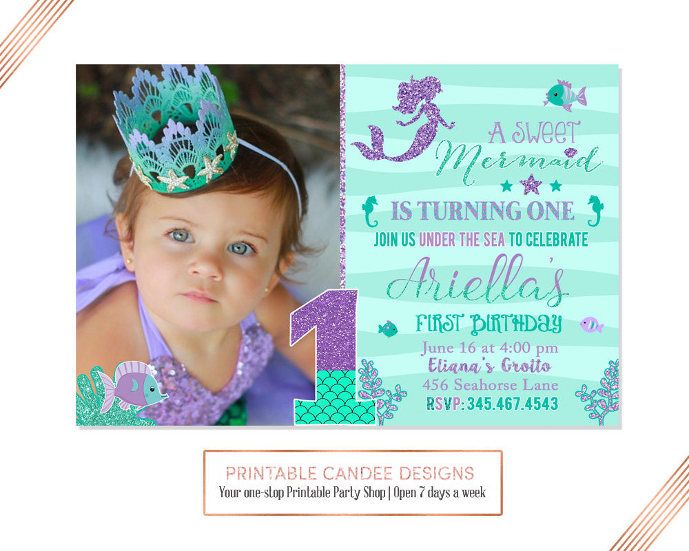 Best ideas about Mermaid First Birthday Invitations . Save or Pin Mermaid First Birthday Invitation Mermaid Invite Under The Now.