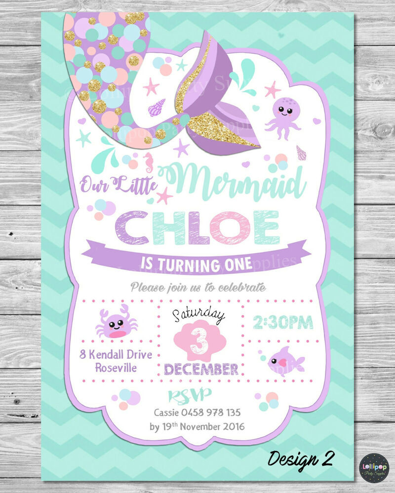Best ideas about Mermaid First Birthday Invitations . Save or Pin 8x LITTLE MERMAID INVITATION INVITE 1ST FIRST BIRTHDAY Now.
