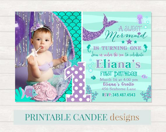 Best ideas about Mermaid First Birthday Invitations . Save or Pin Mermaid 1st Birthday Invitation Mermaid Invite Under The Sea Now.