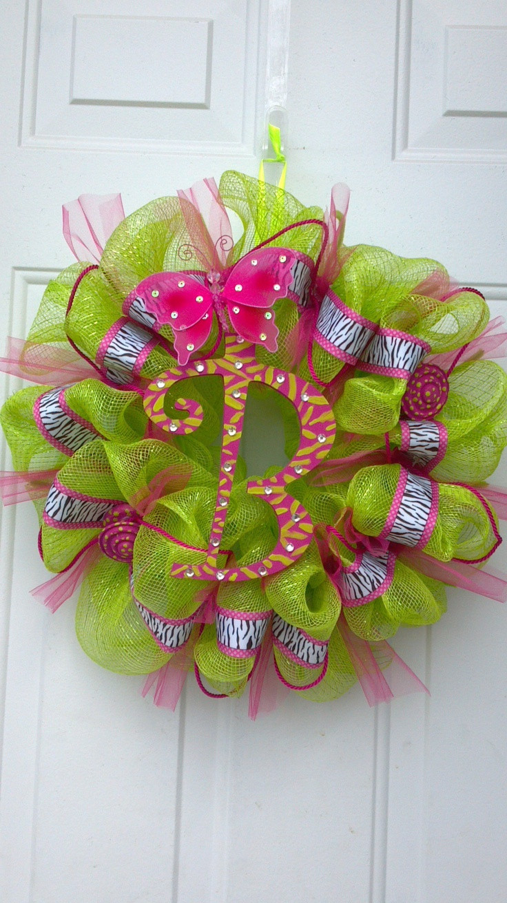 """Best ideas about Mesh Wreaths DIY . Save or Pin DIY deco mesh wreath """"B"""" by Tonia crafts etc Now."""