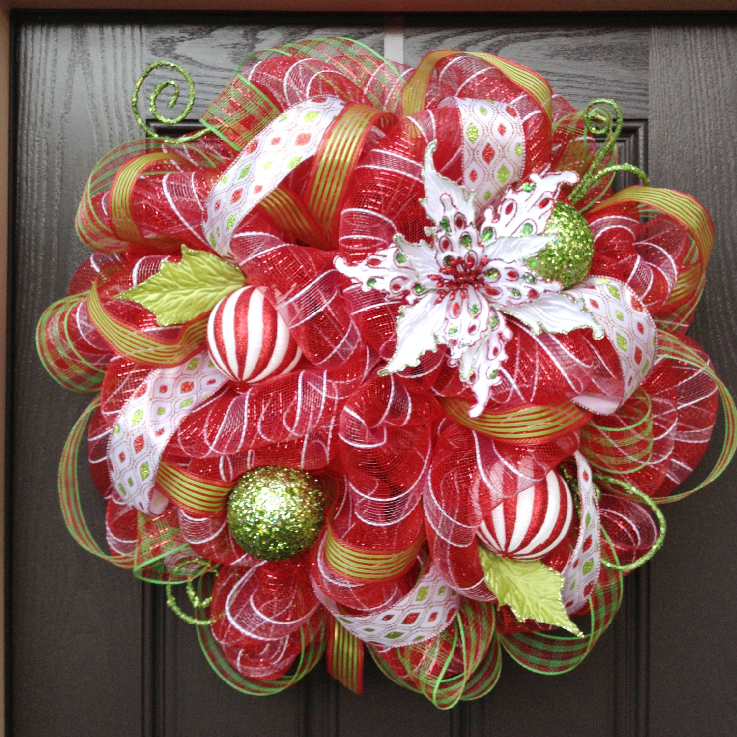 Best ideas about Mesh Wreaths DIY . Save or Pin Red White Striped Christmas Deco Mesh Wreath Now.