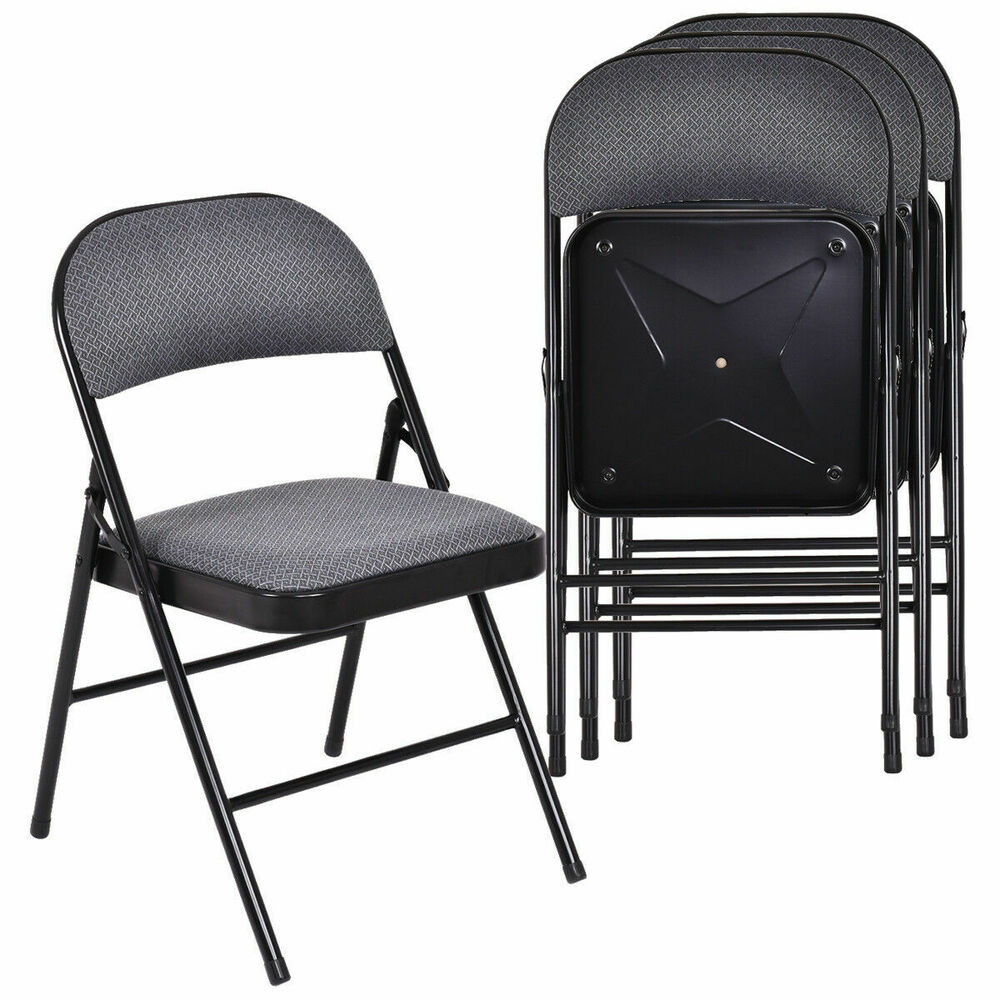 Best ideas about Metal Folding Chair . Save or Pin Set of 4 Folding Chairs Fabric Upholstered Padded Seat Now.