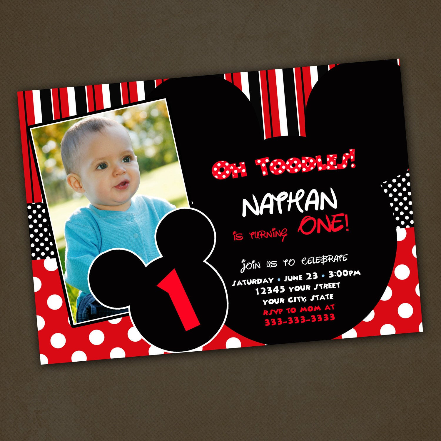 Best ideas about Mickey Mouse Photo Birthday Invitations . Save or Pin Unavailable Listing on Etsy Now.