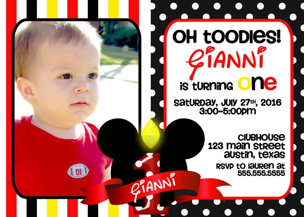 Best ideas about Mickey Mouse Photo Birthday Invitations . Save or Pin Mickey Mouse 1st Birthday Invitations Ideas – Bagvania Now.