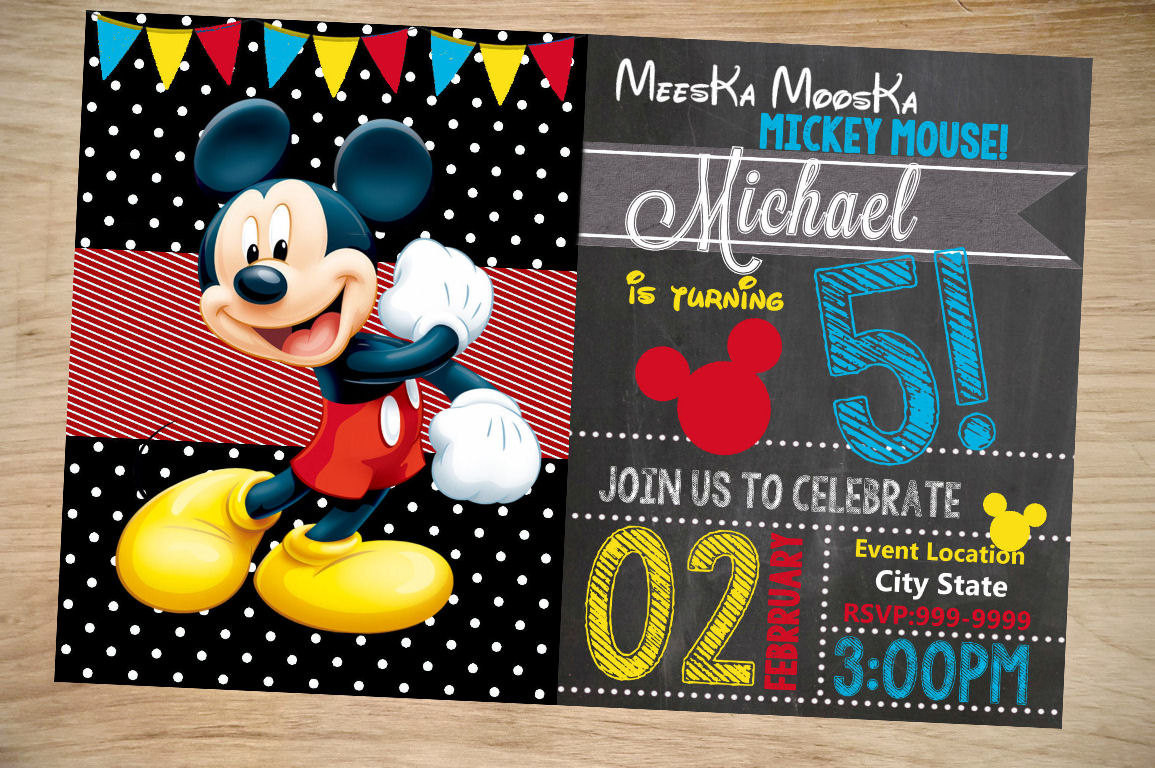 Best ideas about Mickey Mouse Photo Birthday Invitations . Save or Pin Mickey Mouse Birthday Invitation Birthday Invitation Now.