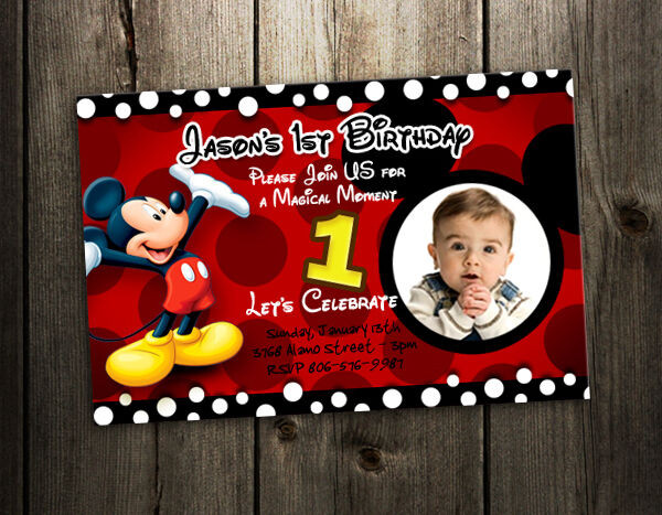 Best ideas about Mickey Mouse Photo Birthday Invitations . Save or Pin MICKEY MOUSE BIRTHDAY INVITATION PARTY CARD PHOTO INVITES Now.