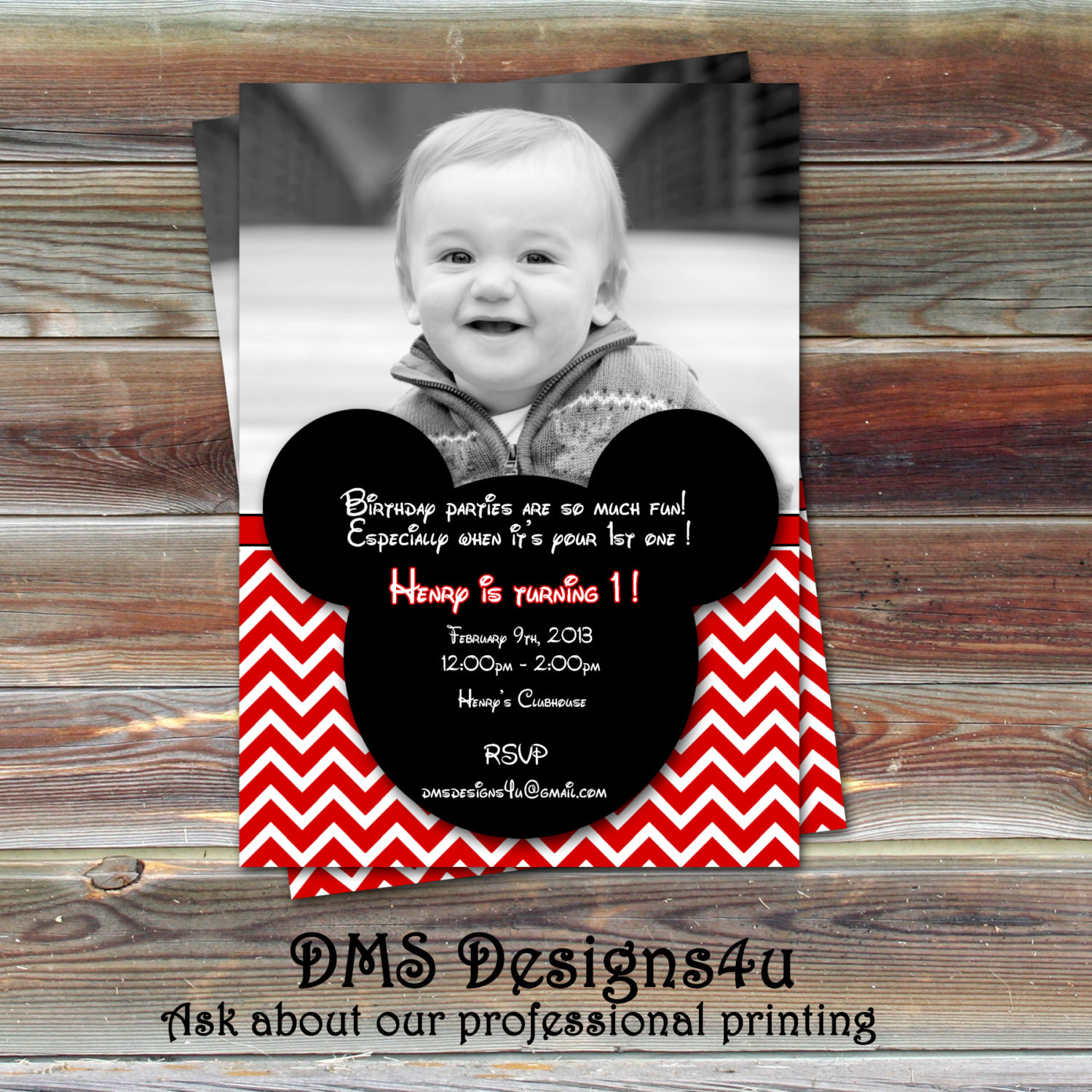 Best ideas about Mickey Mouse Photo Birthday Invitations . Save or Pin Mickey Mouse Inspired Birthday Invitation DIY Printing Now.