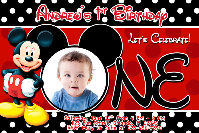 Best ideas about Mickey Mouse Photo Birthday Invitations . Save or Pin Mickey Mouse Birthday Invitations Now.
