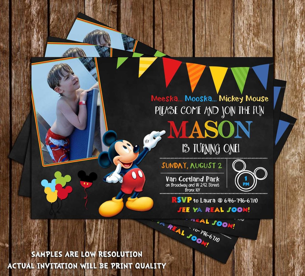 Best ideas about Mickey Mouse Photo Birthday Invitations . Save or Pin Novel Concept Designs Disney Mickey Mouse Chalkboard Now.