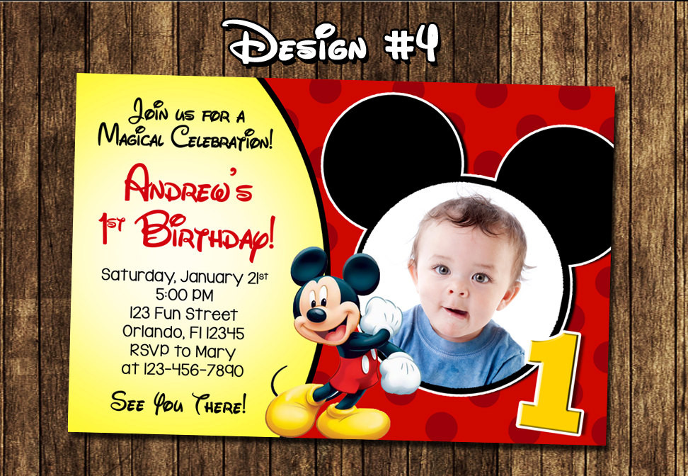 Best ideas about Mickey Mouse Photo Birthday Invitations . Save or Pin Mickey Mouse Baby First Birthday Party Invitations Now.