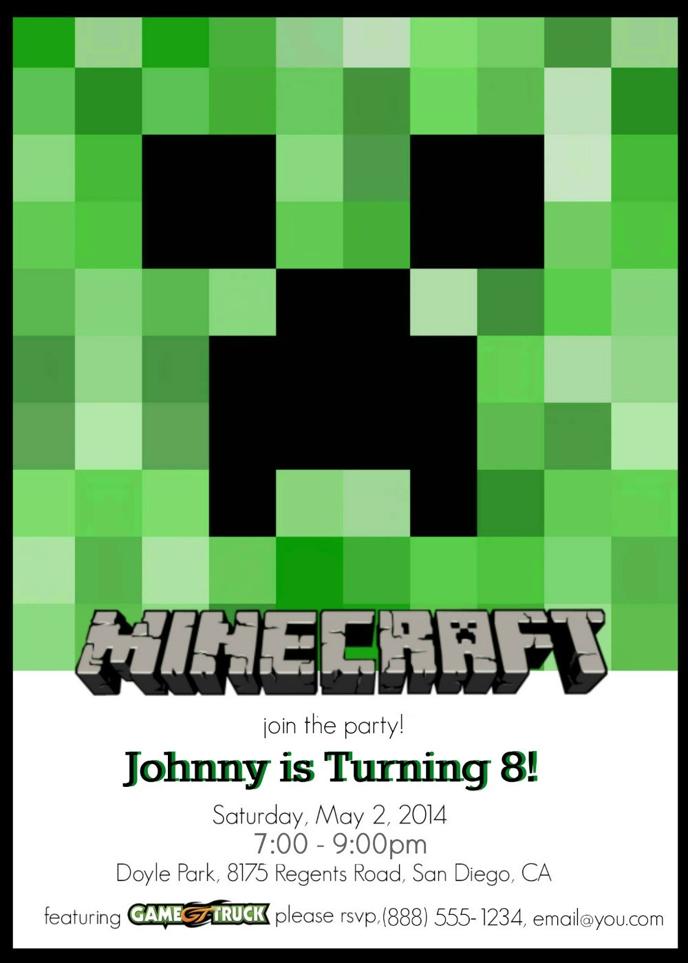 Best ideas about Minecraft Birthday Party Invitations . Save or Pin Make Your Own Custom Printable Minecraft Party Invitations Now.