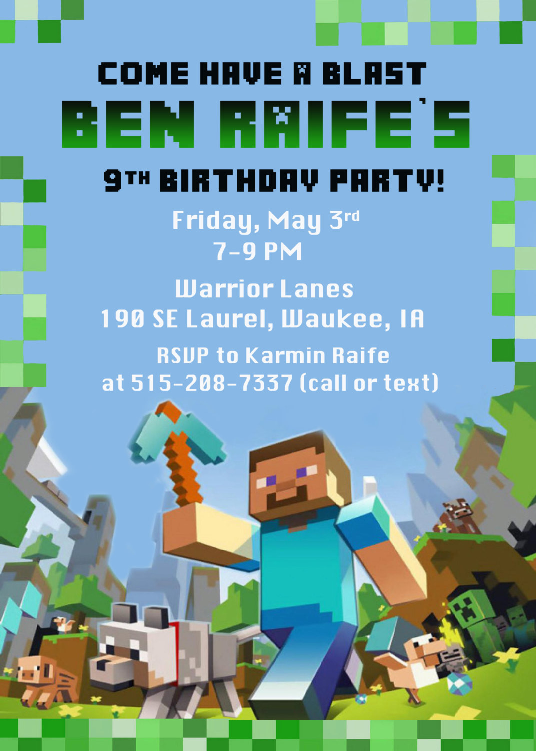 Best ideas about Minecraft Birthday Party Invitations . Save or Pin Minecraft Birthday Party Invitation Digital Printable File Now.