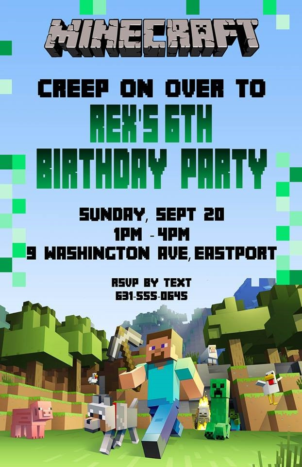 Best ideas about Minecraft Birthday Party Invitations . Save or Pin Birthday Invitation Minecraft Theme Now.