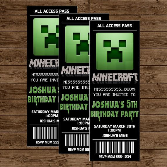 Best ideas about Minecraft Birthday Party Invitations . Save or Pin Minecraft Ticket Invitation Minecraft Birthday Party Now.