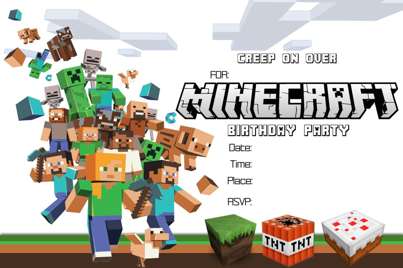 Best ideas about Minecraft Birthday Party Invitations . Save or Pin Free Minecraft Birthday Invitation Printable Now.