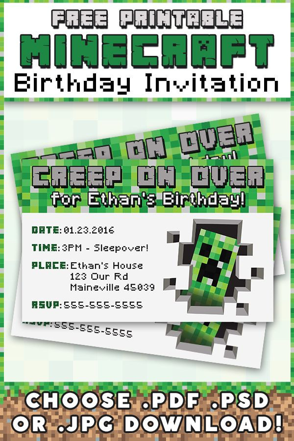 Best ideas about Minecraft Birthday Party Invitations . Save or Pin Free Minecraft Printable Invitation Now.