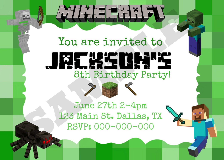 Best ideas about Minecraft Birthday Party Invitations . Save or Pin 40th Birthday Ideas Minecraft Birthday Invitation Now.