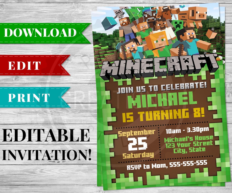 Best ideas about Minecraft Birthday Party Invitations . Save or Pin Printable Minecraft Invitation PDF Minecraft Birthday Now.