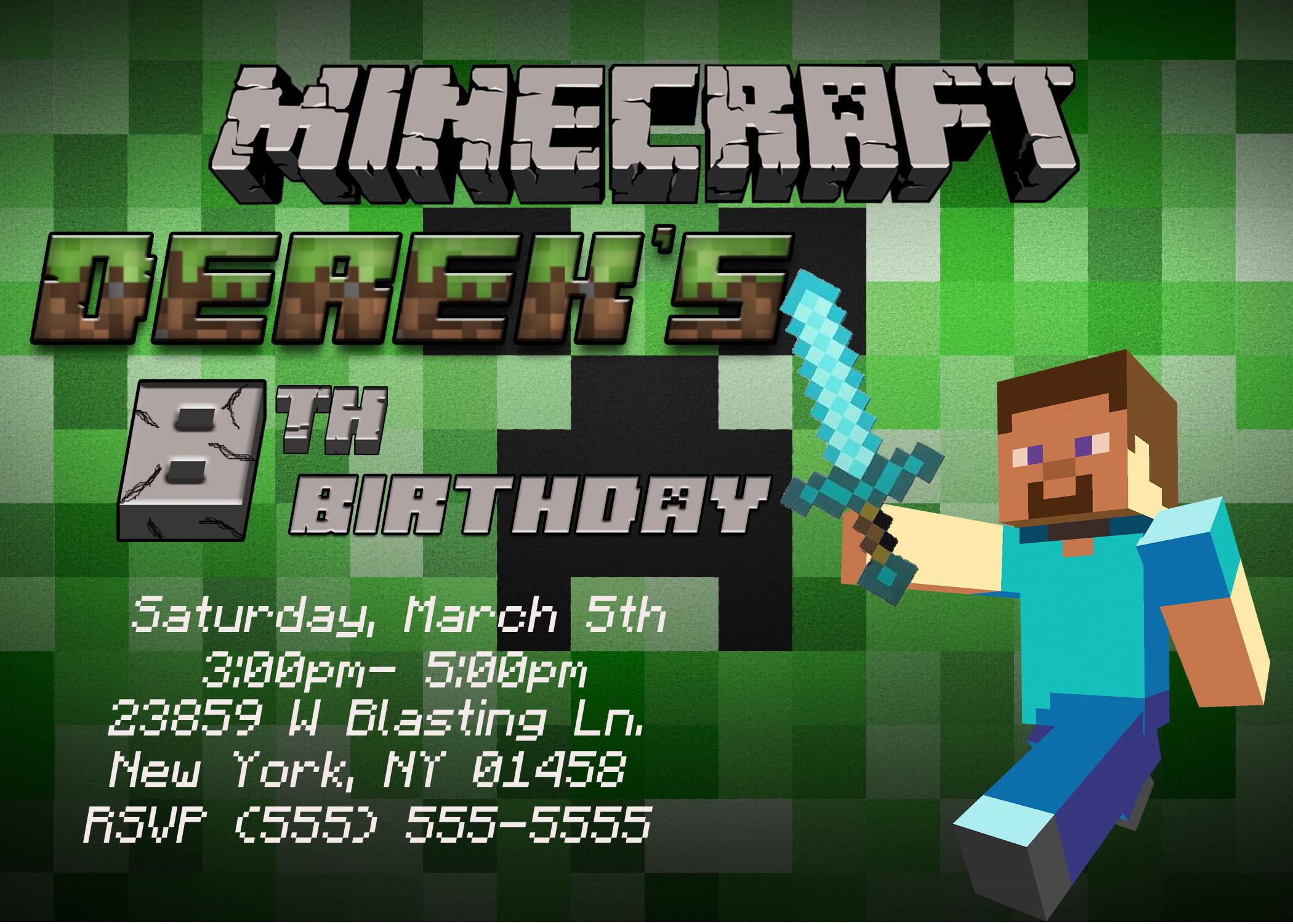 Best ideas about Minecraft Birthday Party Invitations . Save or Pin Minecraft Birthday Invitation Now.