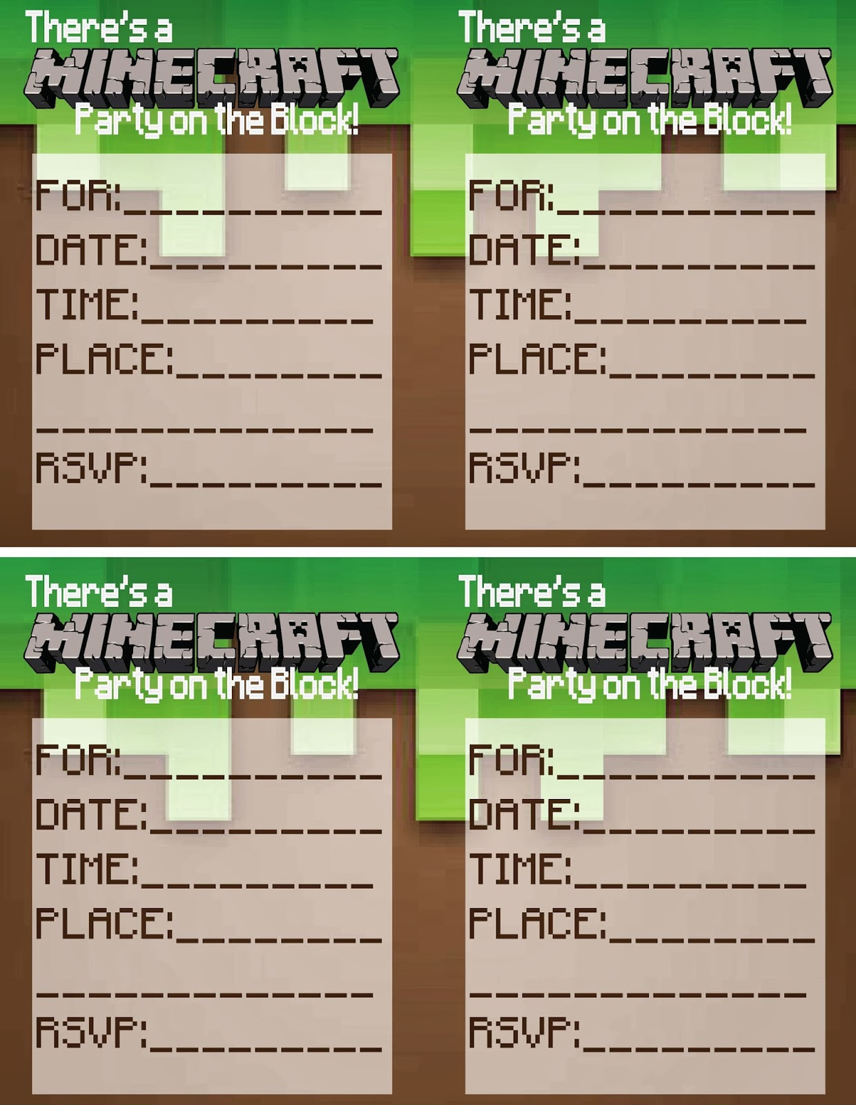 Best ideas about Minecraft Birthday Party Invitations . Save or Pin Up Cycled & Printable Treasures Minecraft Party Printables Now.