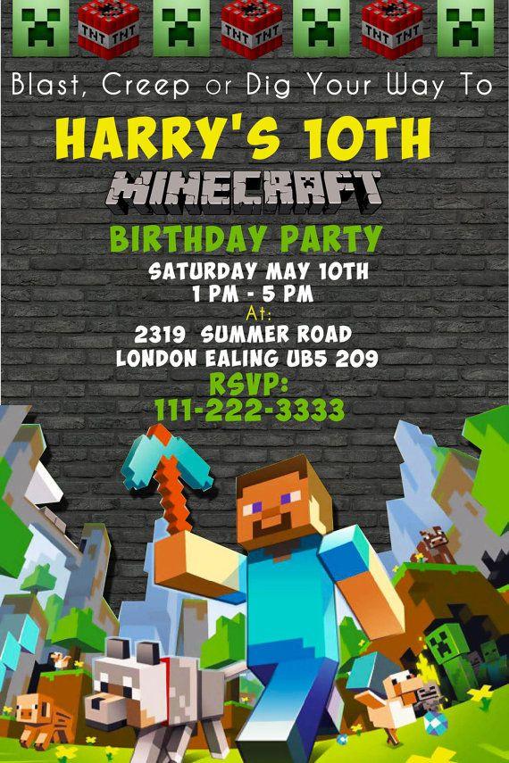 Best ideas about Minecraft Birthday Party Invitations . Save or Pin 17 Best ideas about Minecraft Invitations on Pinterest Now.