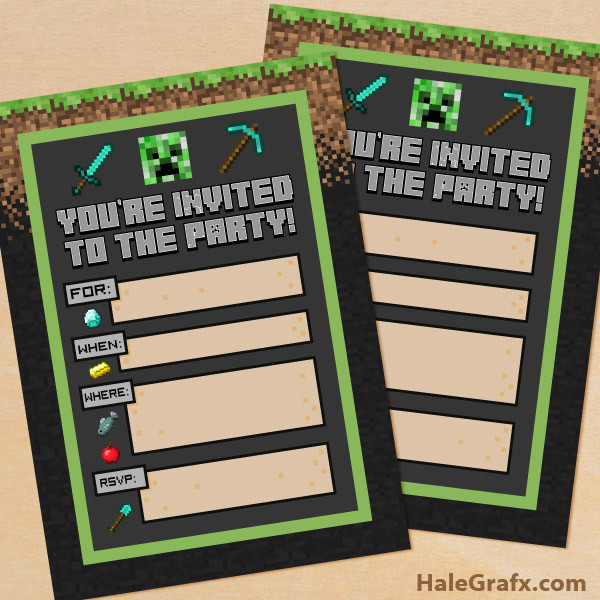 Best ideas about Minecraft Birthday Party Invitations . Save or Pin FREE Printable Minecraft Birthday party Invitation Now.