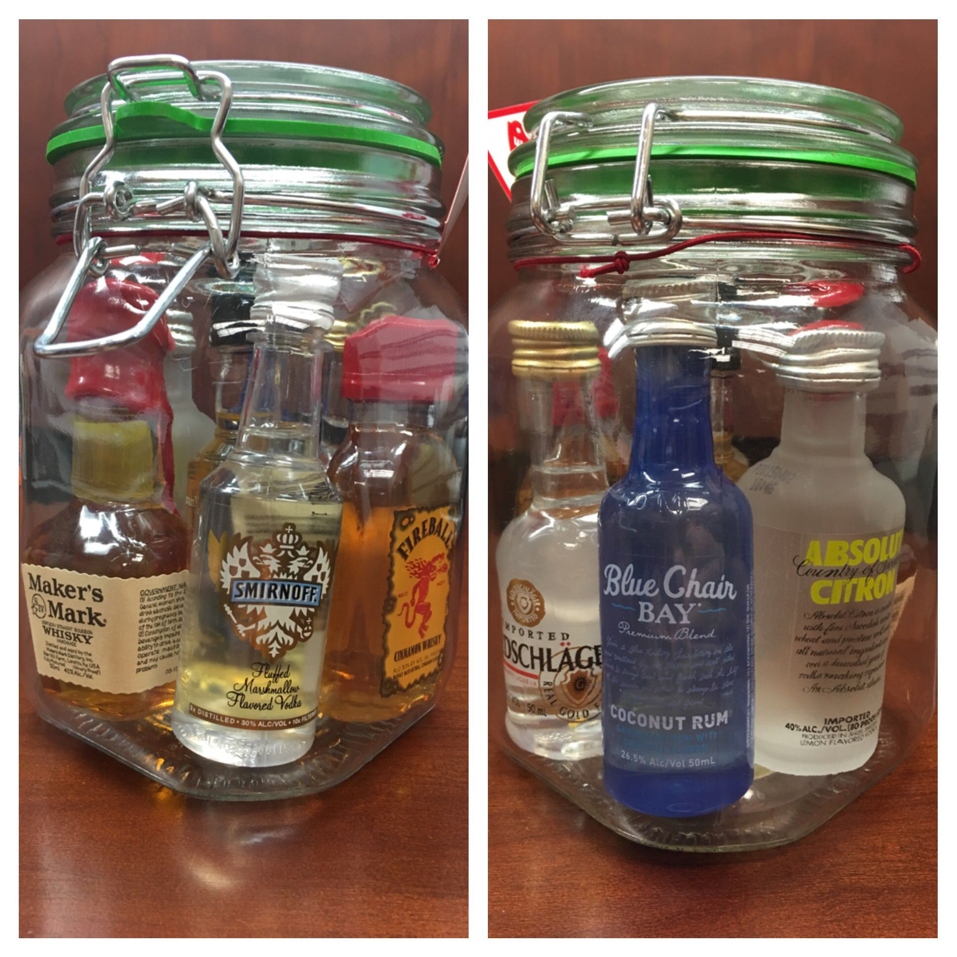Best ideas about Mini Liquor Bottle Gift Ideas . Save or Pin Mini bar in a Jar All for $20 Jar $3 ish at Walmart Now.