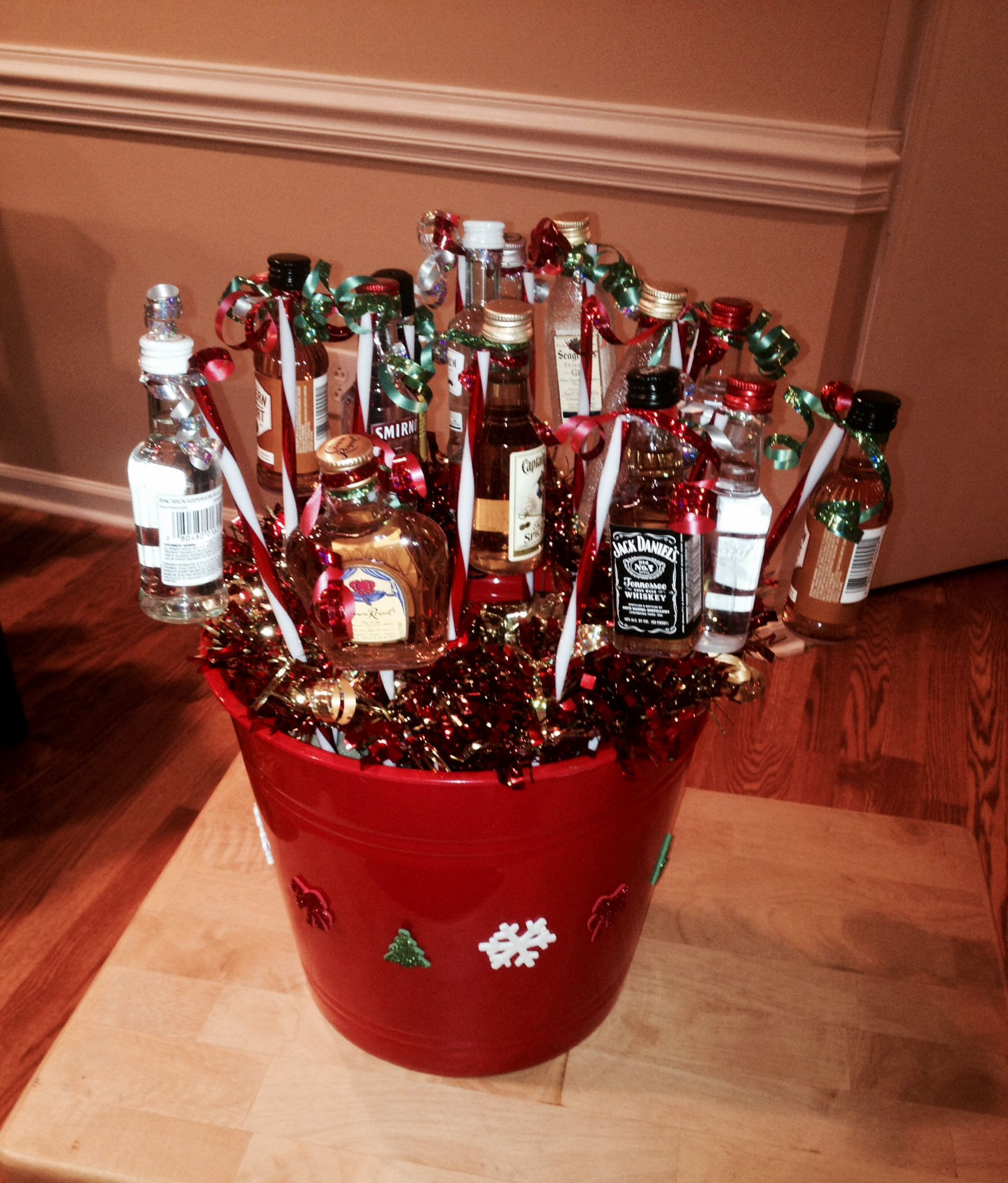 Best ideas about Mini Liquor Bottle Gift Ideas . Save or Pin Christmas mini liquor bottle basket Super easy and cheap Now.