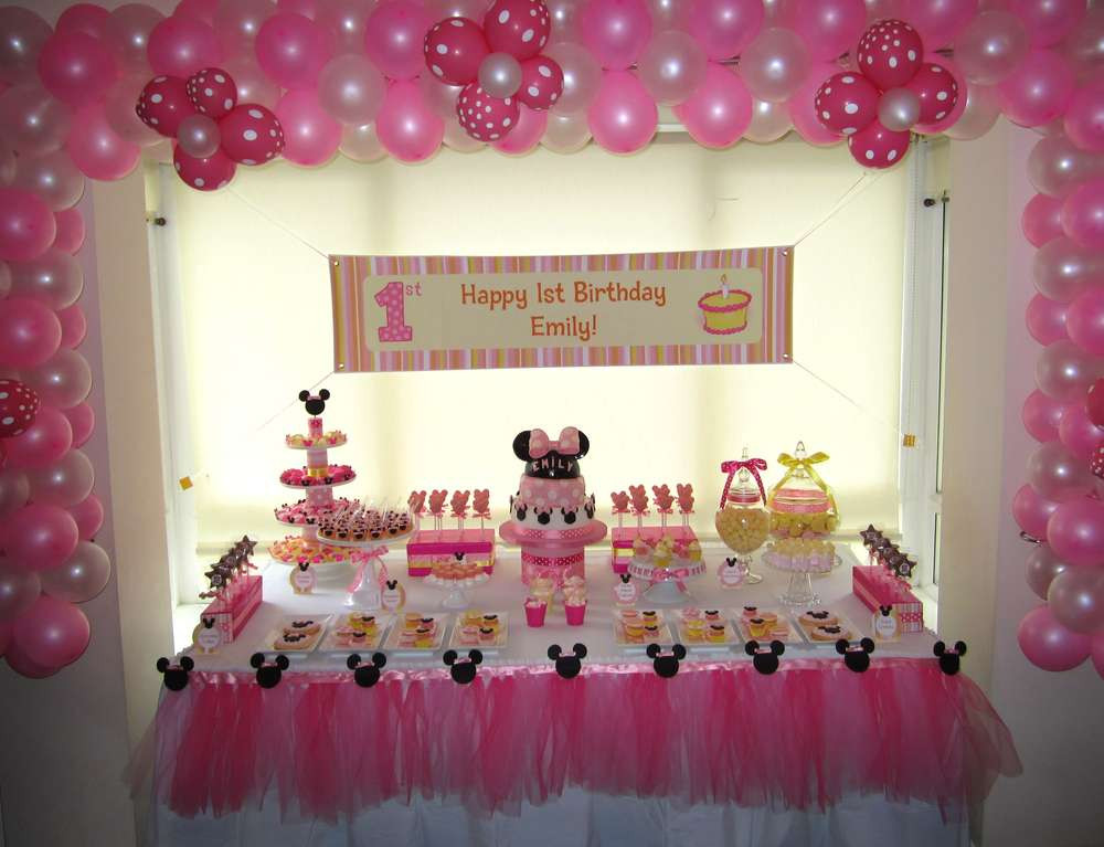 Best ideas about Minnie Mouse First Birthday Decorations . Save or Pin Minnie Mouse Birthday Party Ideas 1 of 15 Now.